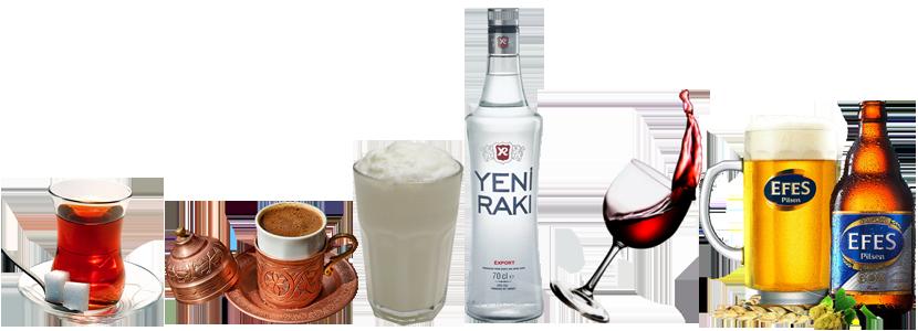 Turecké nápoje, turecký čaj, turecká káva, turecký ayran, turecké raki, turecké víno, turecké pivo Efes Pilsen